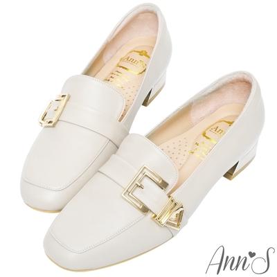 Ann'S鏤空造型金扣頂級綿羊皮平底紳士鞋-杏