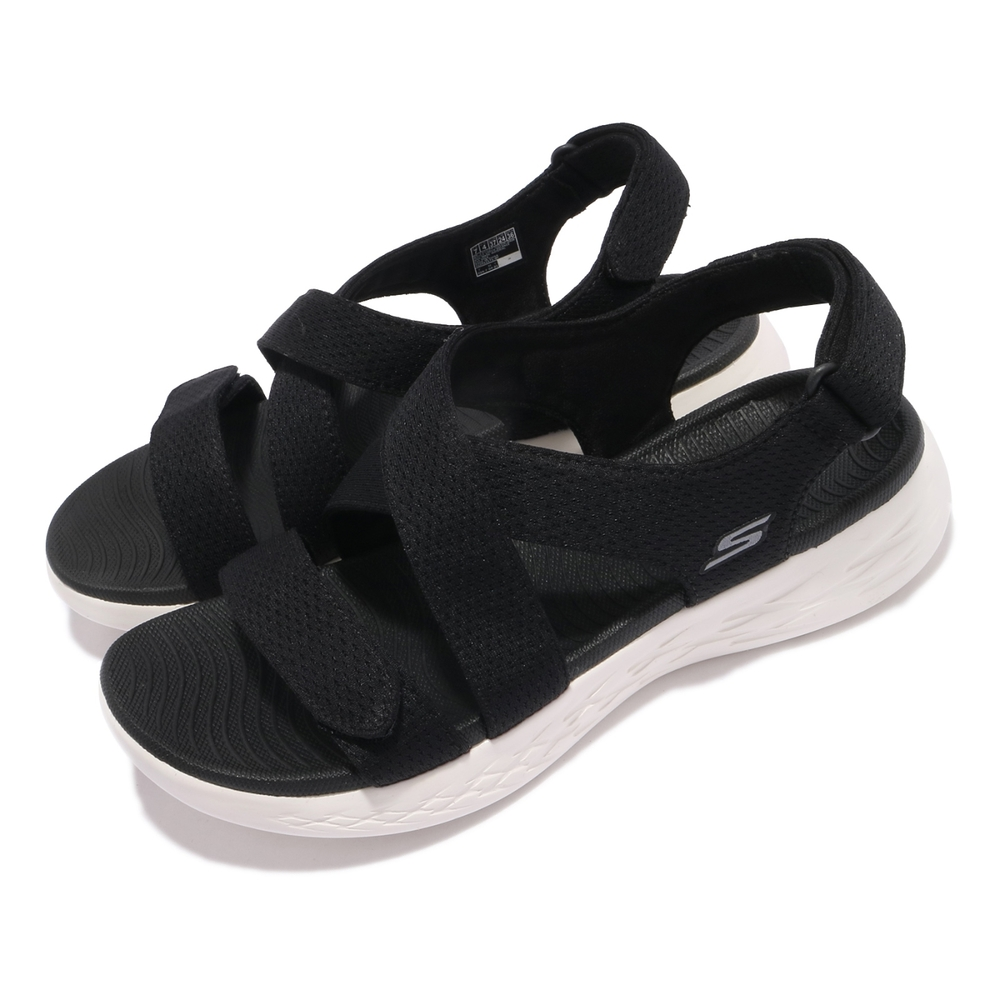Skechers 涼鞋 On-The-Go 600 休閒 女鞋 魔鬼氈 夏日 涼爽 透氣 百搭 郊遊 黑 白 140027BKW