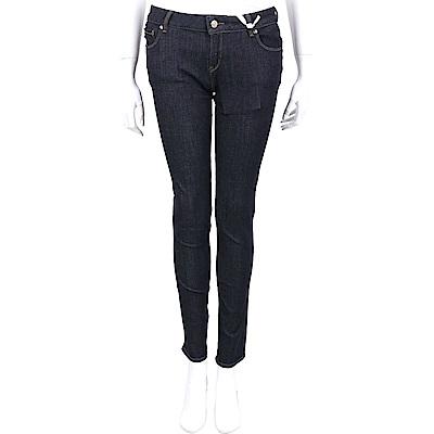 LOVE MOSCHINO 愛心金屬裝飾深藍色修身牛仔褲
