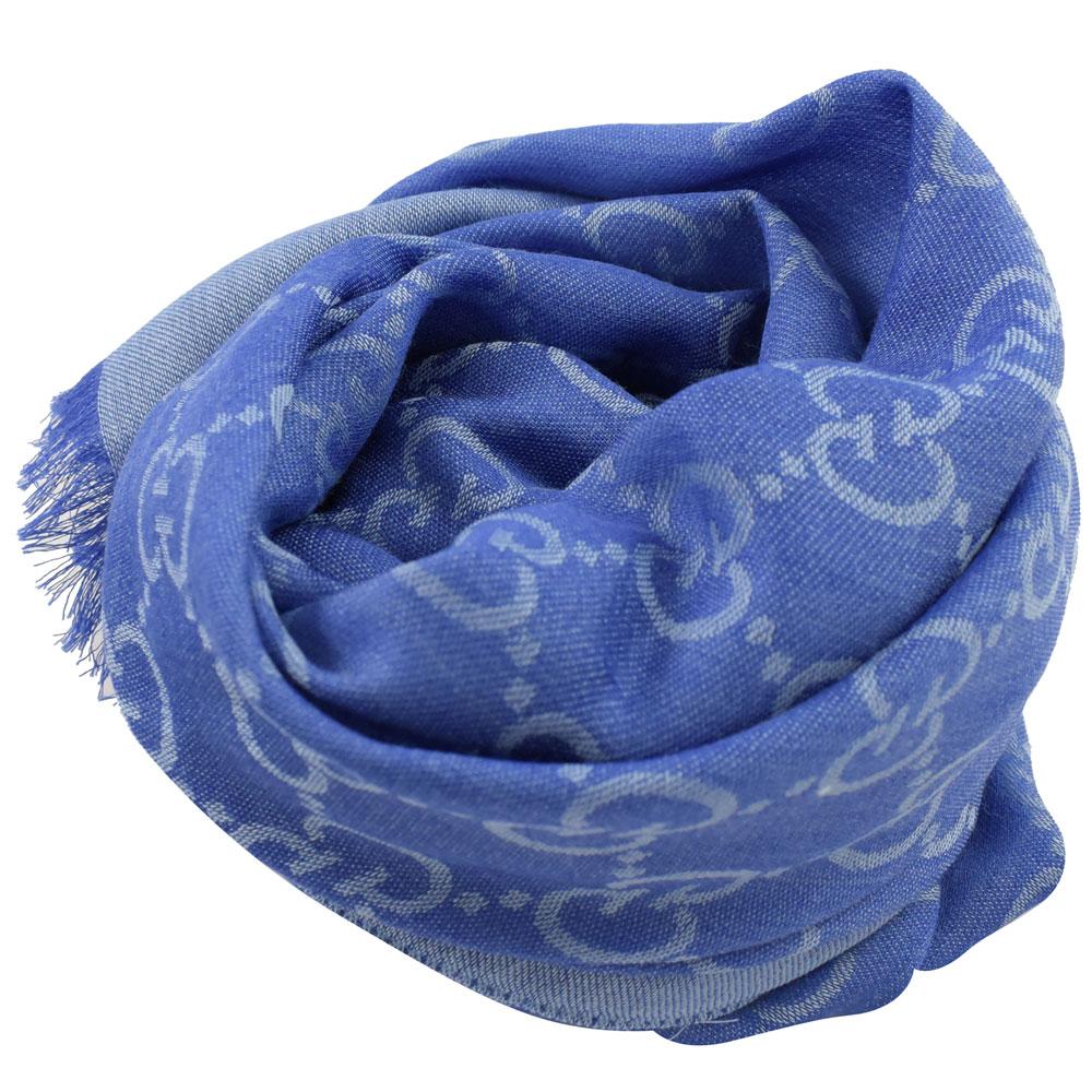 GUCCI 經典LOGO羊毛織圍巾/披肩(藍紫)GUCCI