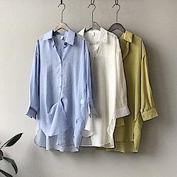 韓國空運 涼感防曬長版襯衫-3色-TMH