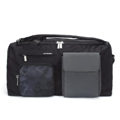 【ELLE Active】玩色方塊系列-後背旅行袋-迷彩黑