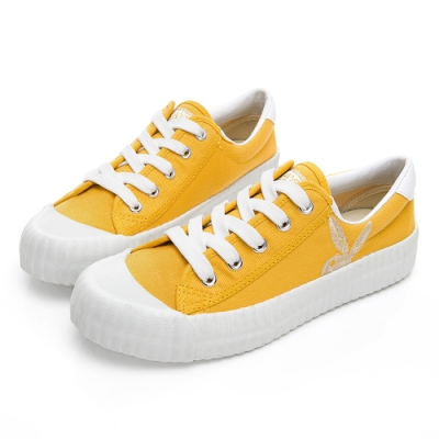 PLAYBOY 彩糖電繡兔頭帆布鞋-黃-Y5706BB