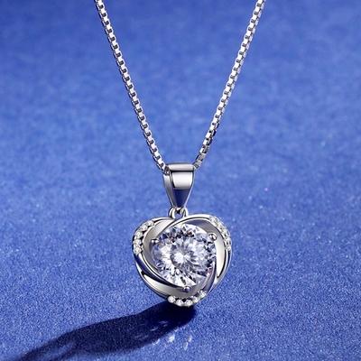 米蘭精品 莫桑鑽項鍊925純銀吊墜-1ct心形百搭時尚聖誕節情人節生日禮物女飾品73yk88