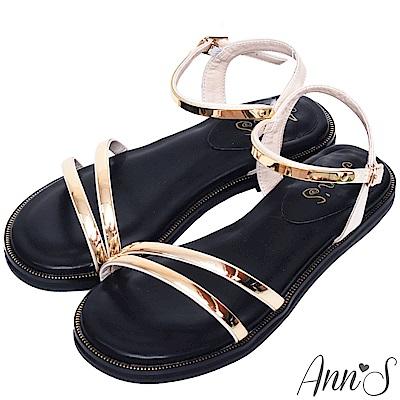 Ann'S百搭韓系-軟金屬斜帶寬版平底涼鞋-金