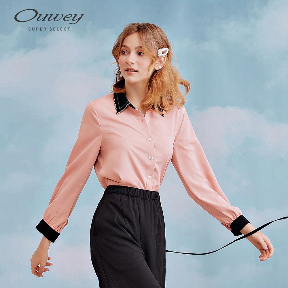 OUWEY歐薇 都會滑料俏麗造型領襯衫(粉/綠)