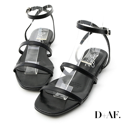 D+AF 時尚聚焦.雙帶繫踝方頭平底涼鞋*黑
