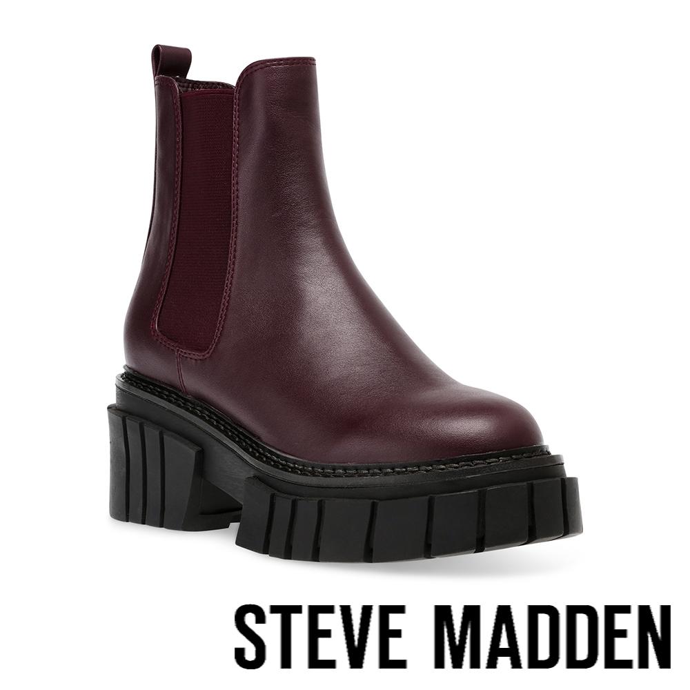STEVE MADDEN-HAILSTORM 素面厚底中筒靴-酒紅色