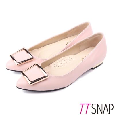 TTSNAP尖頭鞋-MIT時尚女伶方釦真皮金屬低跟鞋 粉