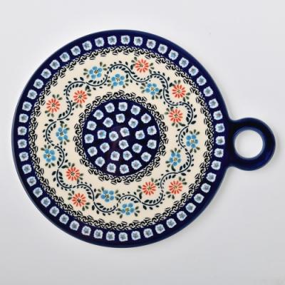 波蘭陶 典雅花團系列 圓形呈菜盤 22.8x27.5 cm 波蘭手工製