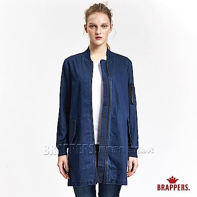 BRAPPERS 女款 Boy Friend 系列-女用長版牛仔外套-藍