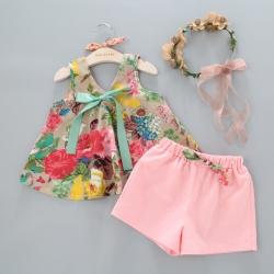 小衣衫童裝 浪漫花卉V領傘狀背心+短褲套裝050706