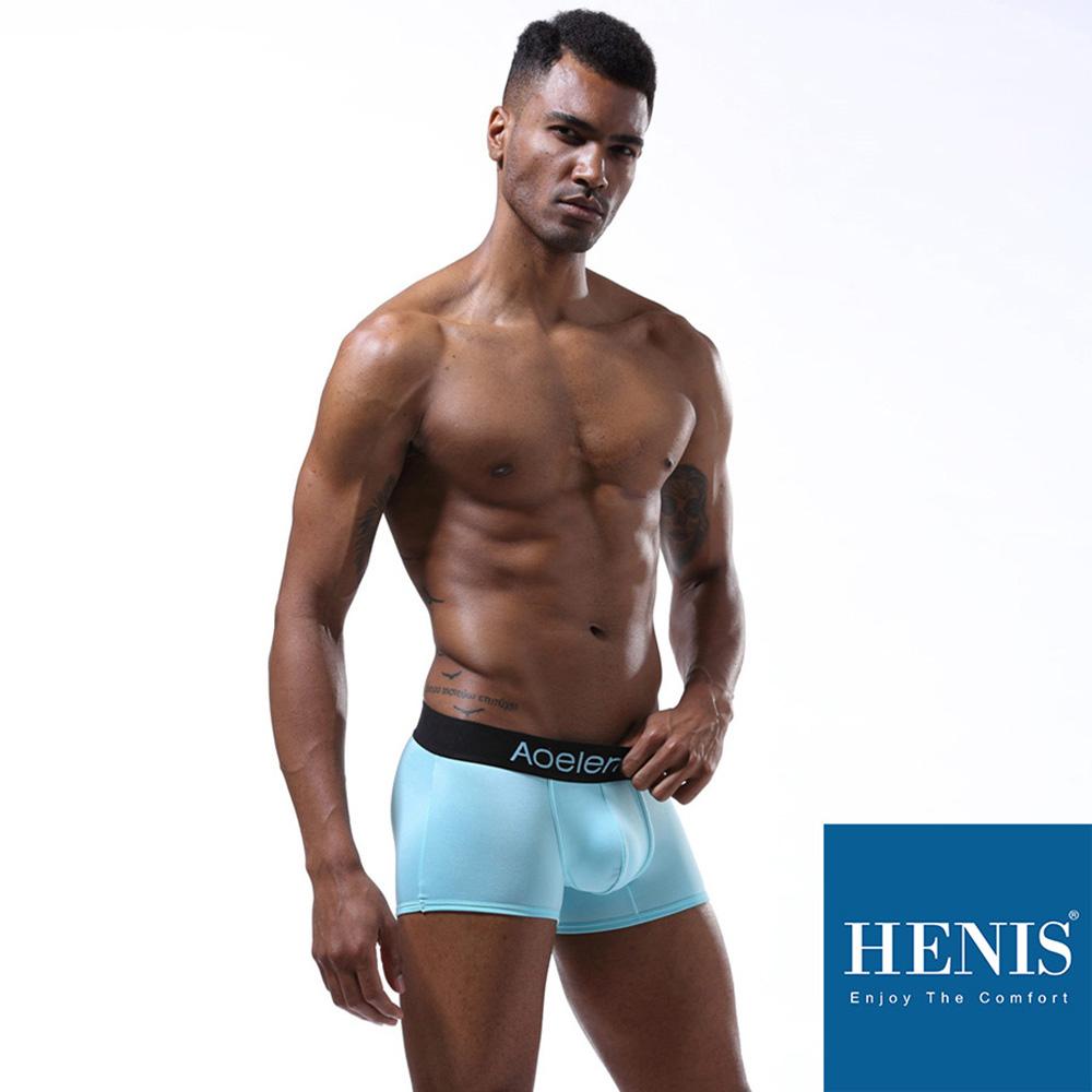HENIS 經典純色 時尚貼身彈性四角褲(淺藍) @ Y!購物