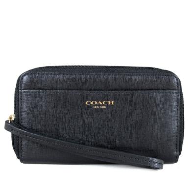 COACH 燙金LOGO防刮皮革提掛式中夾包(黑色)