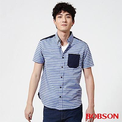 BOBSON 男款橫條紋襯衫