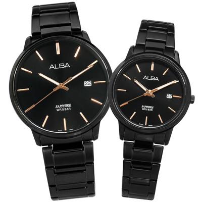 ALBA 都會簡約藍寶石水晶玻璃日期不鏽鋼情人對錶-鍍黑/40+28mm