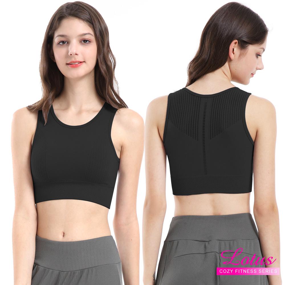 運動內衣 幾何本布鏤空美背運動內衣 砂礫黑 LOTUS
