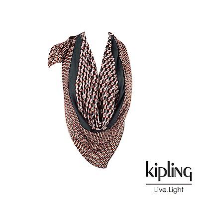 Kipling 紅褐火柴棒幾何圖騰絲巾-SOFT SCARF
