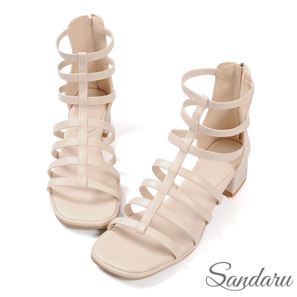 山打努SANDARU-涼鞋 韓國直送一字帶方頭拉鍊羅馬鞋-米