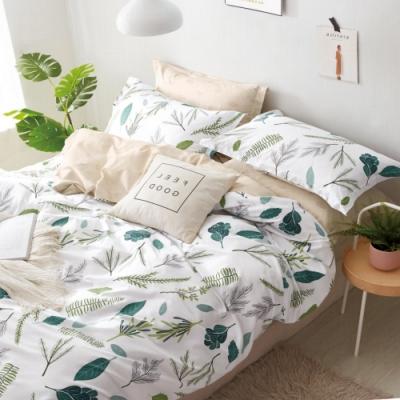 La Lune  MIT頂級精梳棉200織紗雙人床包枕套3件組 舞葉弄情