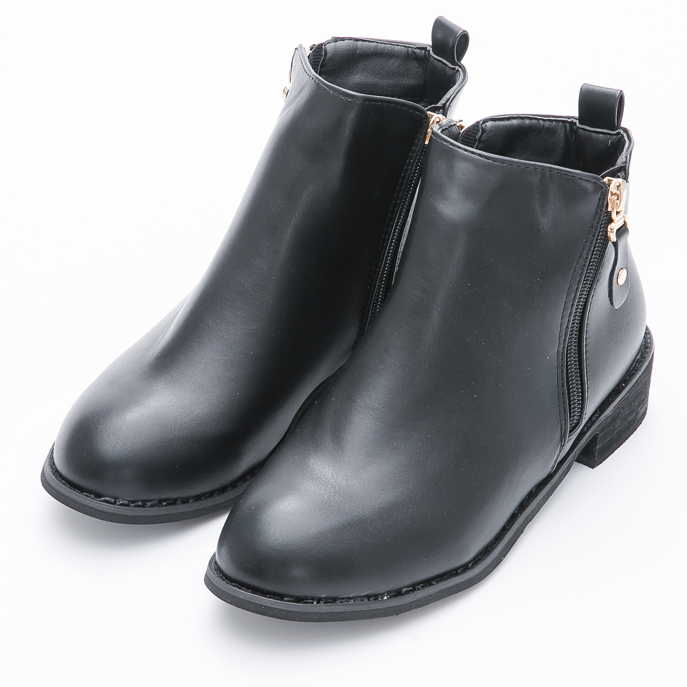 River&Moon短靴-個性雙拉鍊造型微尖楦粗跟短靴-黑