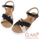 G.Ms. MIT系列-超輕量牛皮交叉休閒厚底涼鞋-黑色