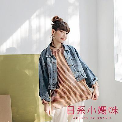 日系小媽咪孕婦裝-正韓孕婦裝 百搭落肩圓領條紋上衣