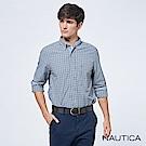 Nautica經典雙色小格紋長袖襯衫-深藍