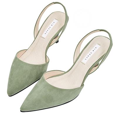 AIR SPACE 氣質尖頭絨布細跟鞋(綠)