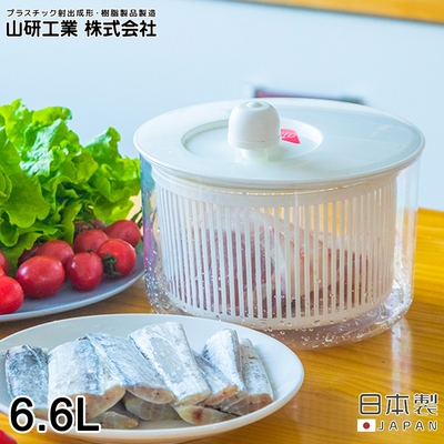 日本山研工業 日本製蔬果清洗脫水機/手轉瀝水籃/洗米器-大