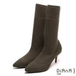 DIANA 街頭時尚--完美視覺針織舒適襪靴 - 軍綠