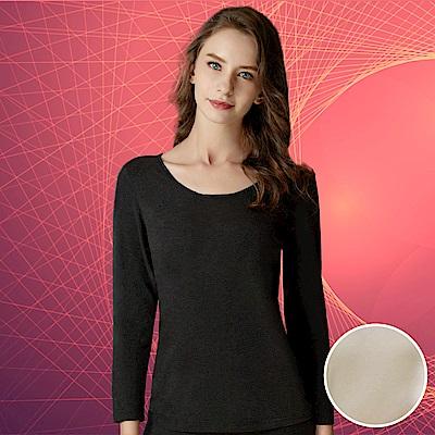 華歌爾-極衣恆溫M-LL 厚刷圓領保暖衣(楓葉黃)保暖柔暖-吸水速乾