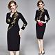 時尚黑色刺繡金梅高貴氣質洋裝L-2XL-M2M product thumbnail 1