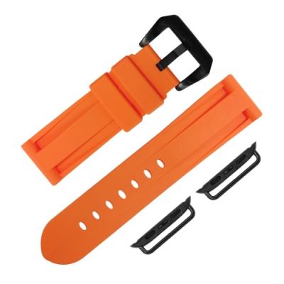 Apple Watch 蘋果手錶替用錶帶 舒適耐用 矽膠錶帶-橘色