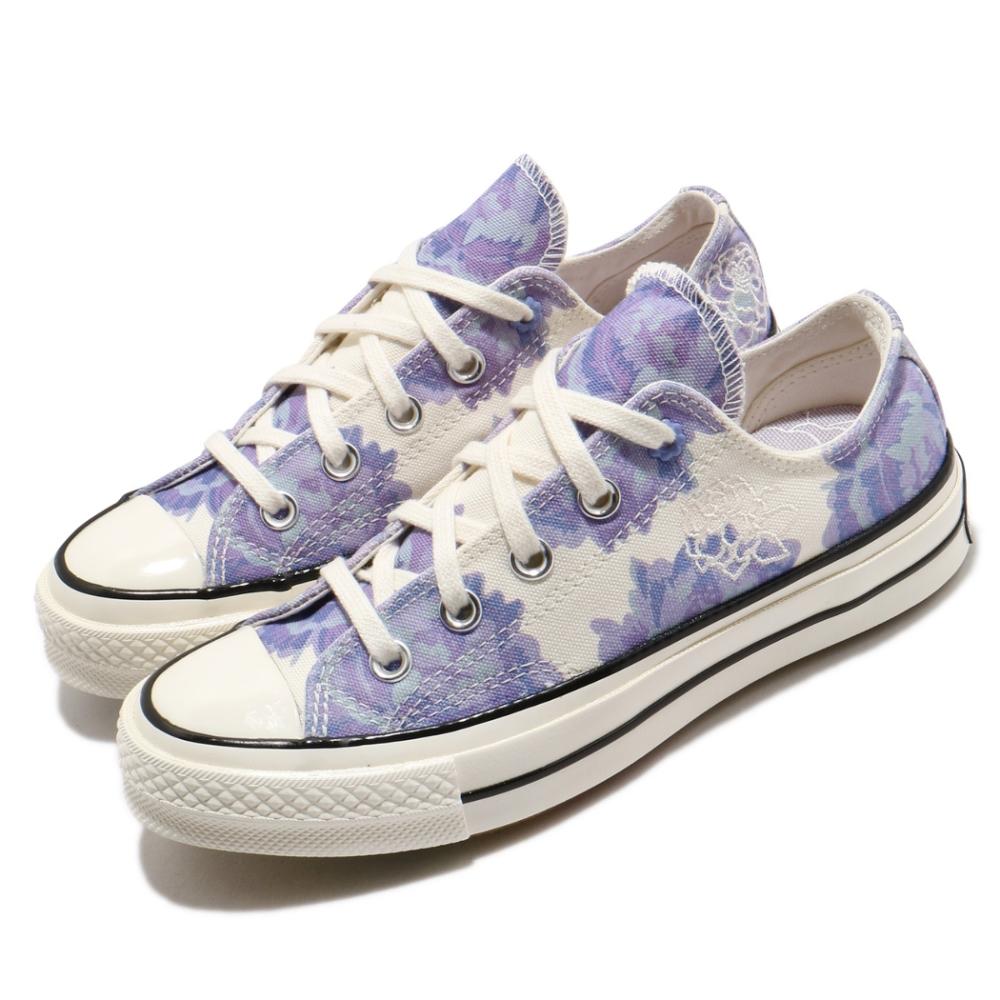 Converse 休閒鞋 All Star 低筒 穿搭 女鞋 基本款 三星黑標 帆布 花朵 米白 紫 570581C