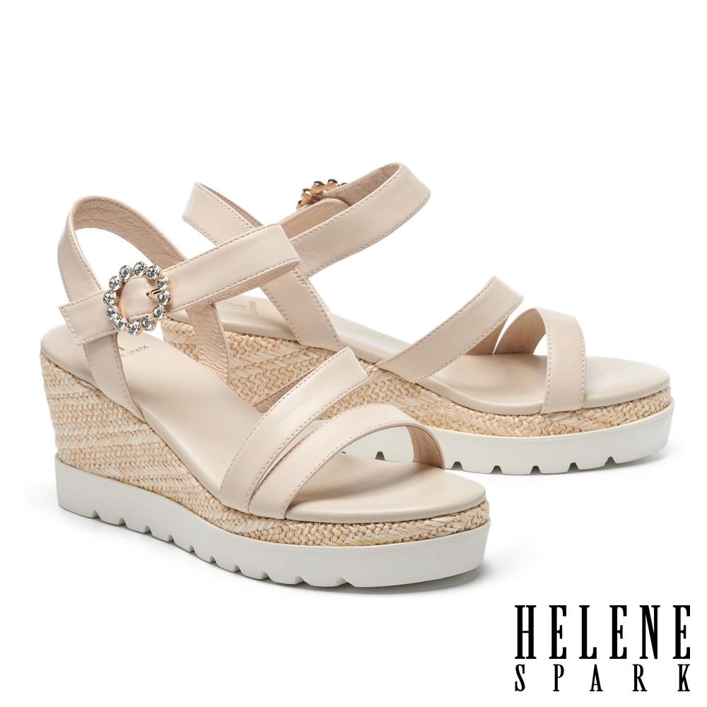 涼鞋 HELENE SPARK 夏日清新繫帶異材質撞色楔型高跟涼鞋-米