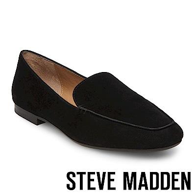 STEVE MADDEN-DORA 麂皮手縫線樂福鞋-黑色