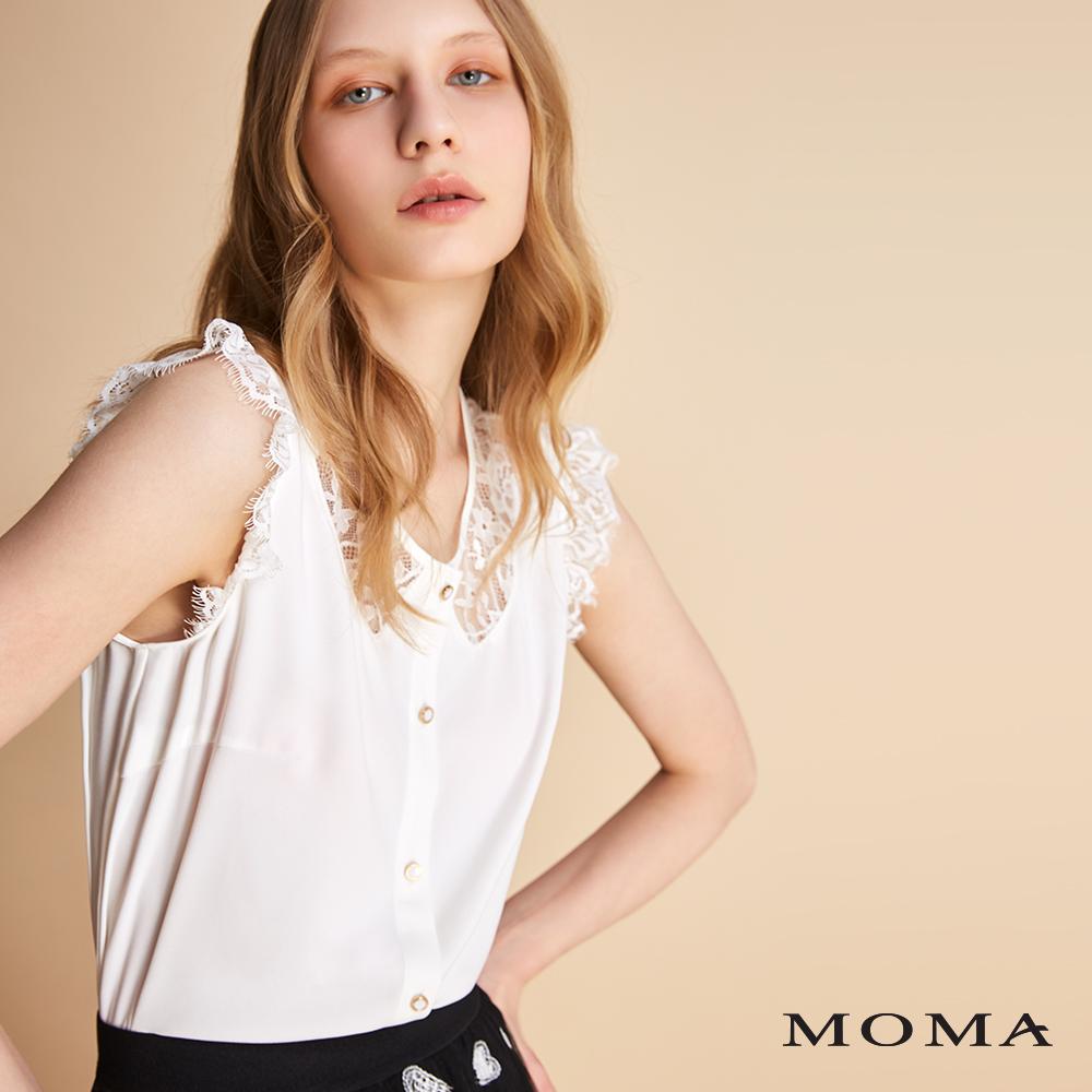 MOMA 無袖拼接蕾絲排扣上衣
