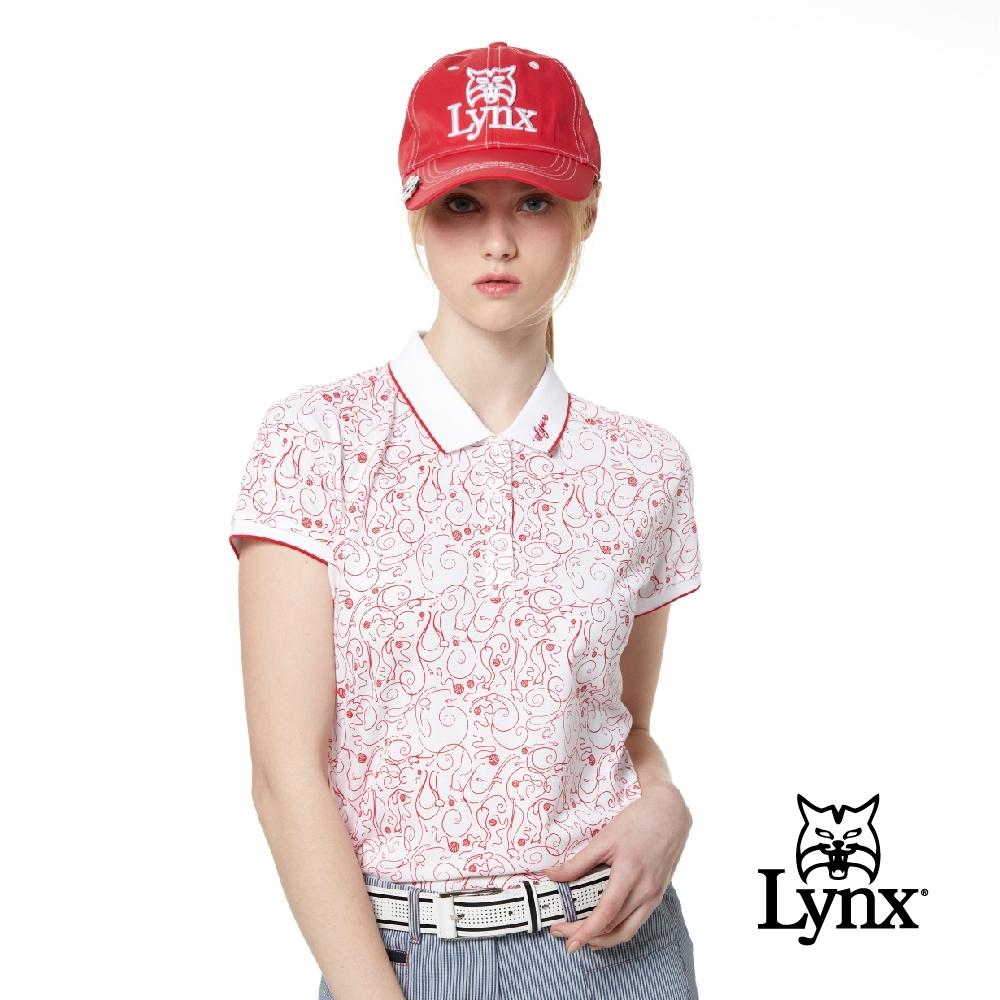 【Lynx Golf】女款吸濕排汗抗UV涼感羅紋邊條配色滿版印花短袖POLO衫-紅色