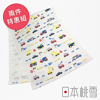 日本桃雪 可愛紗布毛巾超值兩件組(小男孩最愛-工程車)