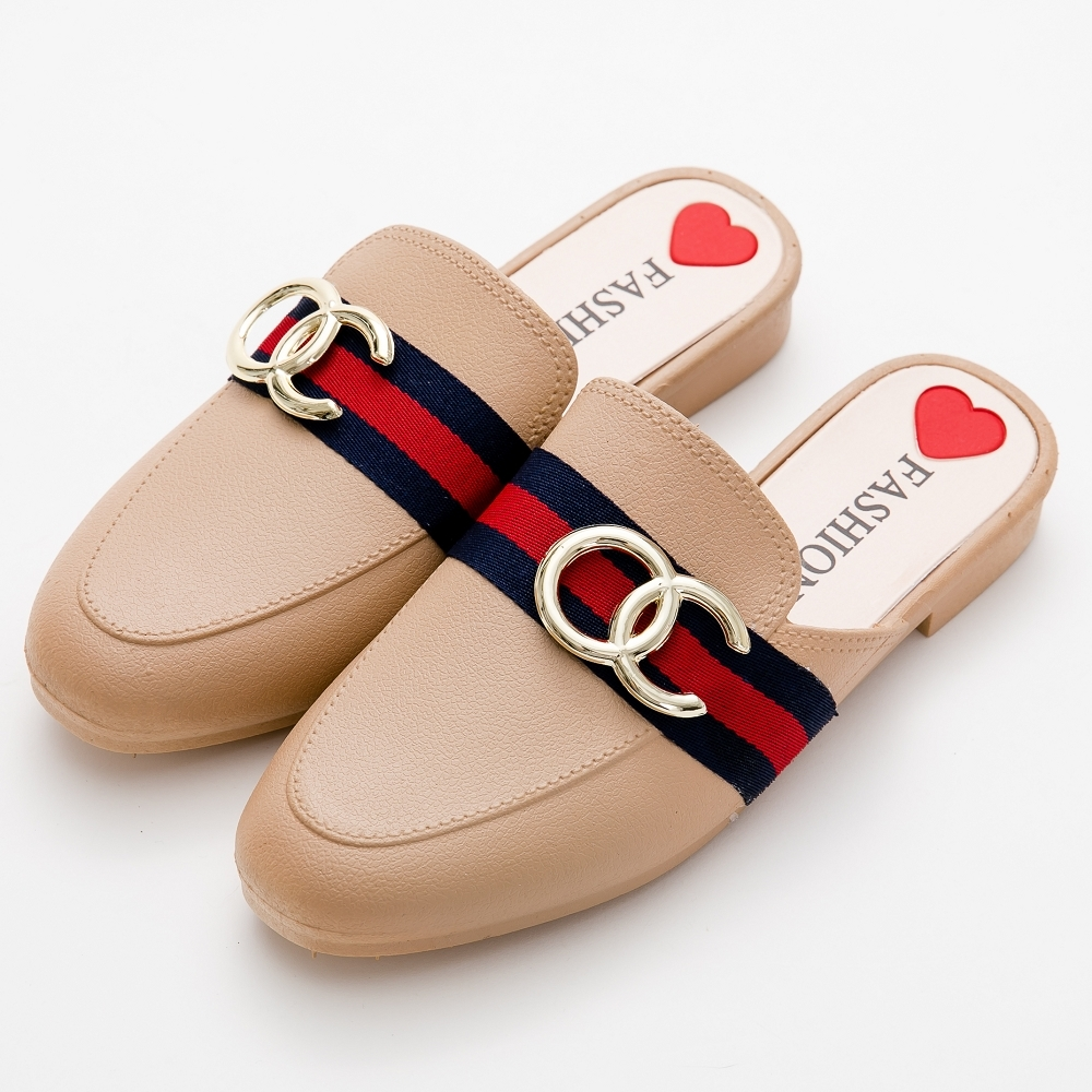 River&Moon穆勒 時尚品牌風穆勒防水涼拖雨鞋 奶茶杏