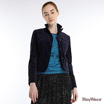KeyWear奇威名品    古典絨布合身窄腰短版西裝外套-深藍色
