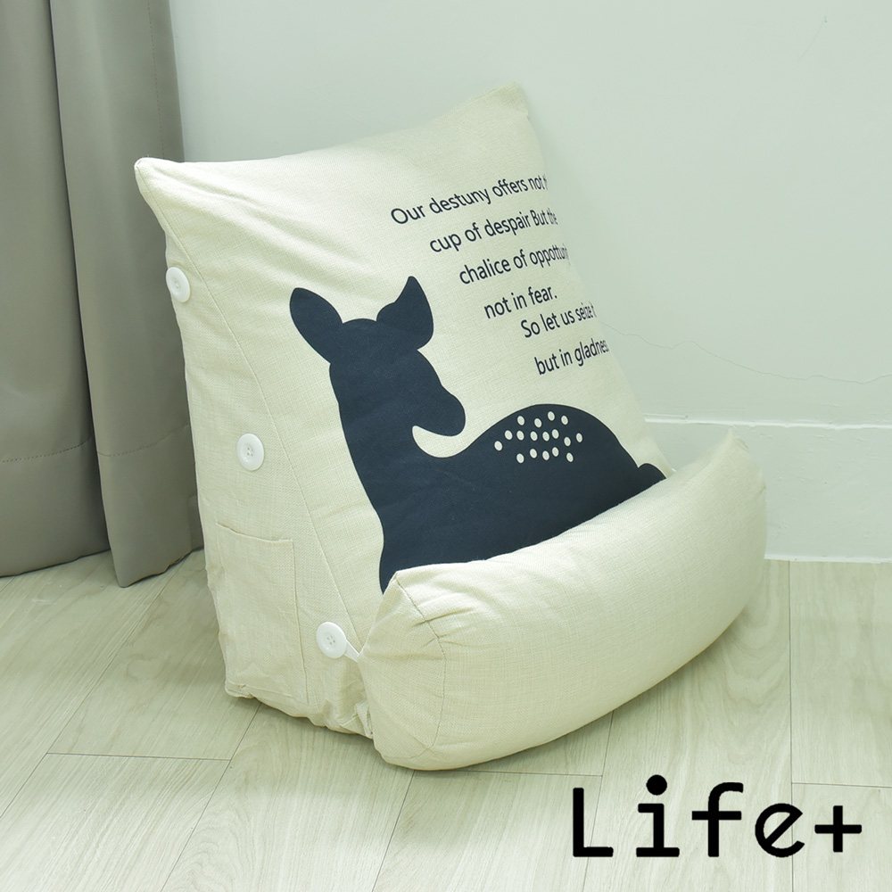 Life Plus 寂靜自然 舒壓萬用棉麻靠枕/抱枕/腰靠枕 (悠閒鹿)