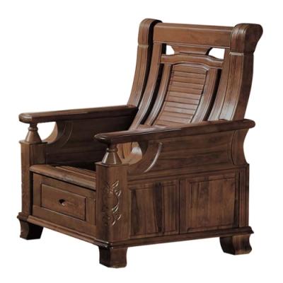 文創集 亞梭典雅風樟木實木單人座收納式沙發椅(收納抽屜設置)-83x72x102cm免組