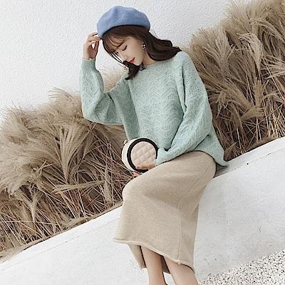 La Belleza圓領素色水波紋菱格雙層編織燈籠袖針織毛海毛衣