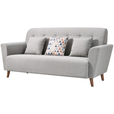 文創集 貝多北歐風三人座棉麻布沙發椅(純粹木語+二色)-202x91x95cm免組
