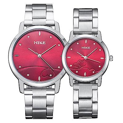 Mirabelle紅線情緣 點鑽不鏽鋼男女對錶 紅面27+39mm