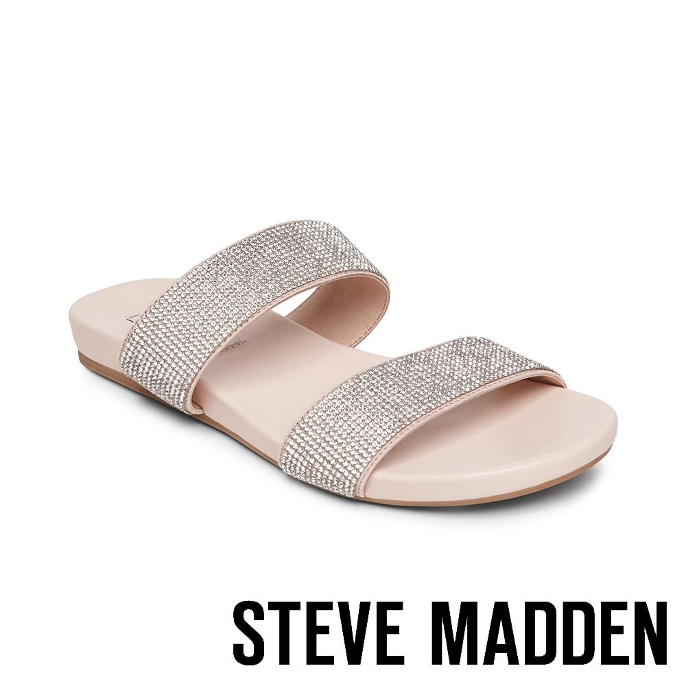 STEVE MADDEN-TILLIE 輕奢點綴水鑽平底拖鞋-銀色