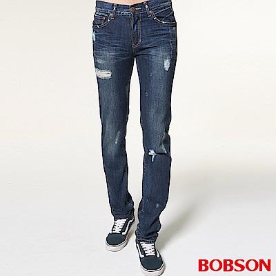 BOBSON 男款噴漆立體貓鬚直筒褲