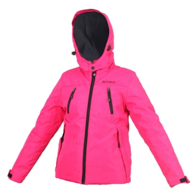 FIRESTAR 女防水舖棉外套-可拆帽外套 連帽外套 保暖外套 防風外套 桃紅黑